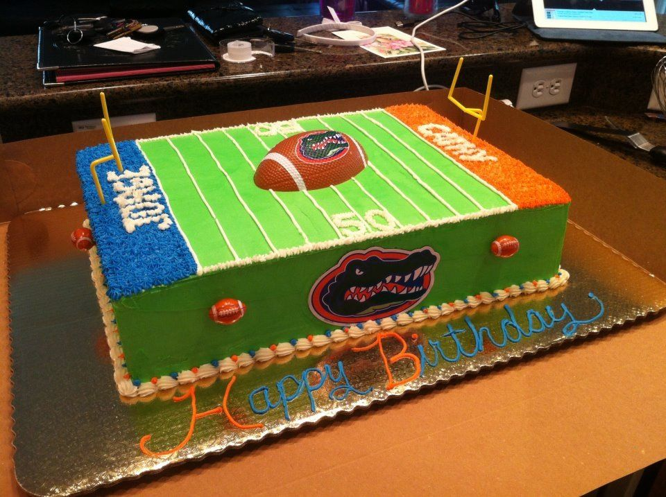 Outstanding Florida Gator Cake Football Birthday Party Football Birthday Personalised Birthday Cards Veneteletsinfo