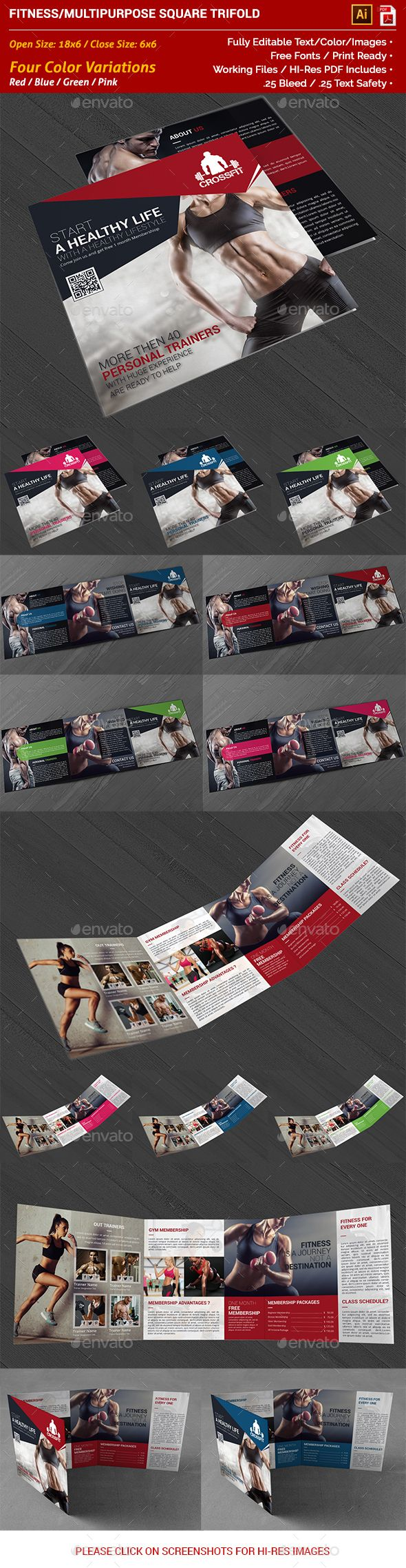 Gym And Fitness Square Trifold Brochure  Brochures Ai