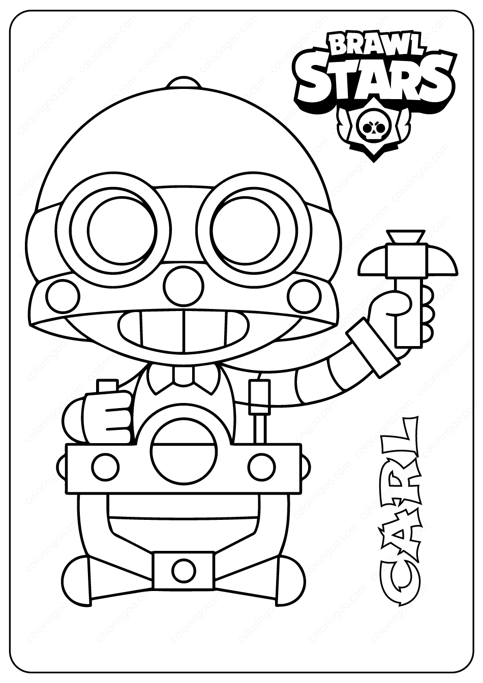 Printable Brawl Stars Carl Pdf Coloring Pages In 2020 Star Coloring Pages Coloring Pages Star Birthday Party Decorations
