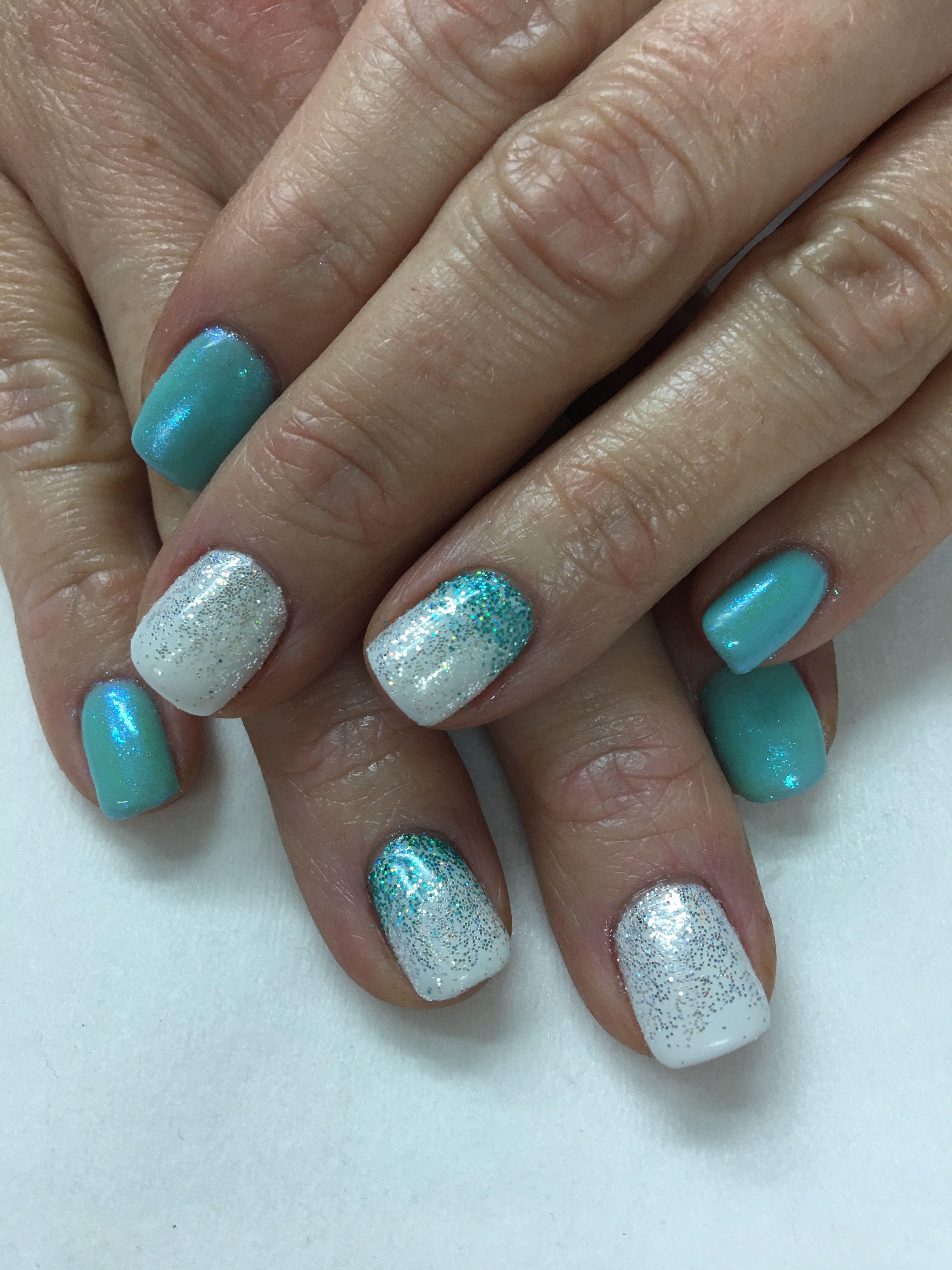 aqua sparkle ombr glitter indigo