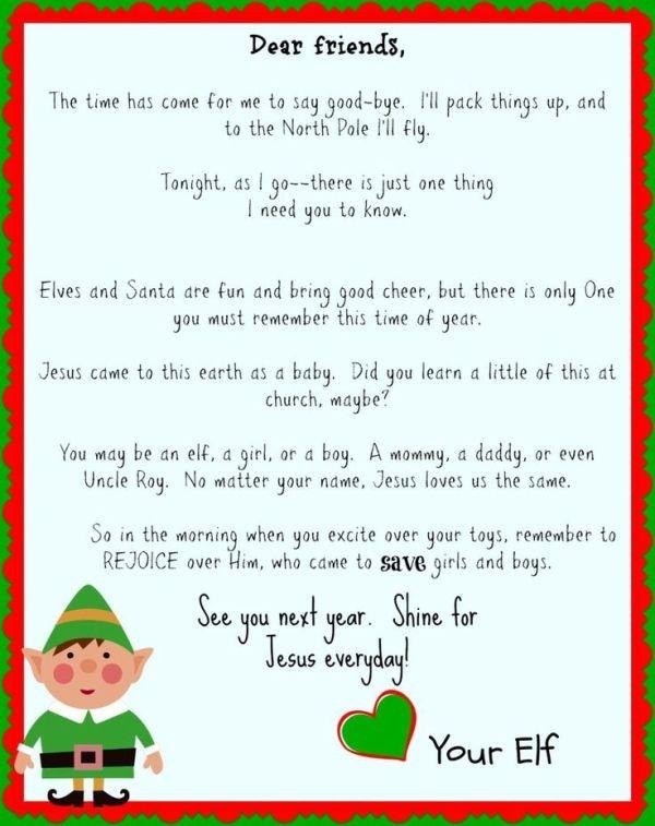 Free Printable Elf On The Shelf Goodbye Letter Jesus Focused
