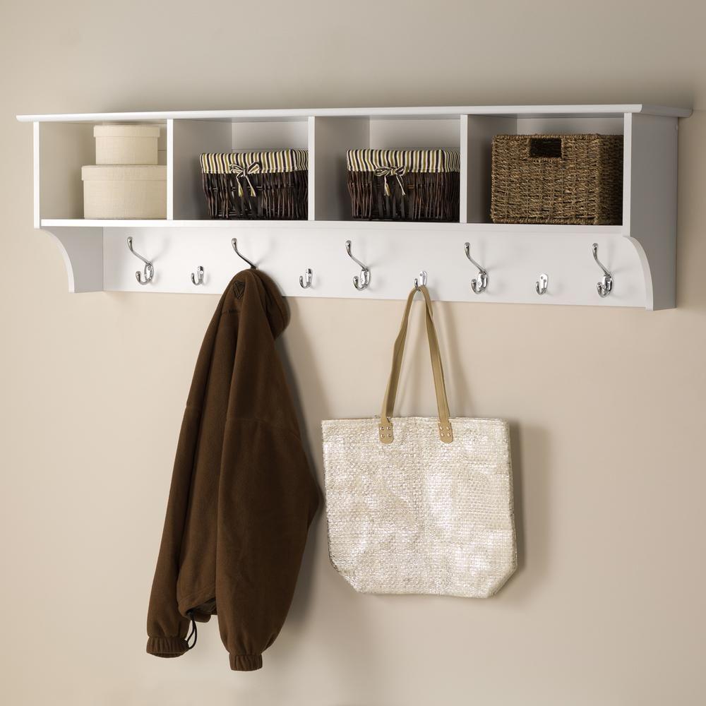 Prepac 60 In Wall Mounted Coat Rack In White Wec 6016 Hanging Entryway Shelf Entryway Shelf Entryway Wall Shelf