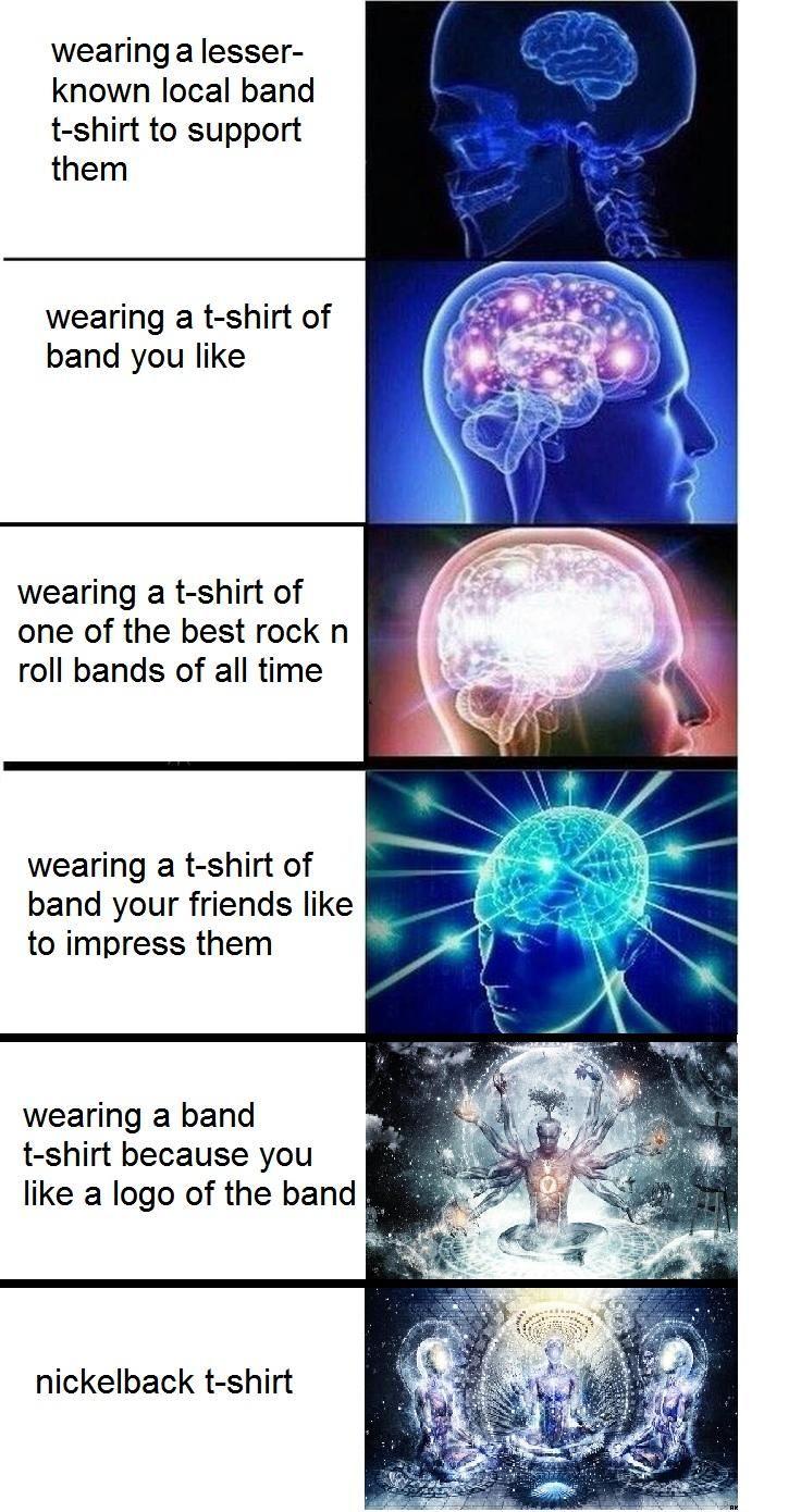 Expanding Brain Band T-Shirt  S I E N T E L A I L U M I N -7536
