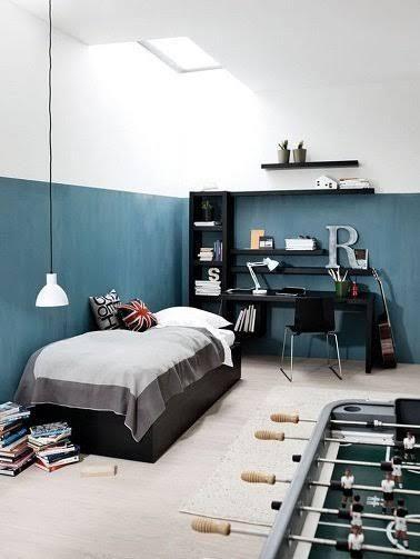 Une peinture bleu gris pour la chambre du0027ado Teen boysu0027 room - peinture chambre gris et bleu