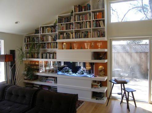 Built In Bookcase And Aquarium