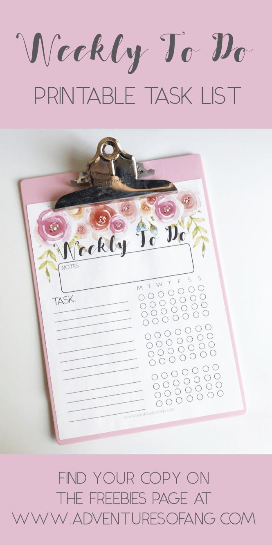 daily task check list weekly to do printable task list pretty