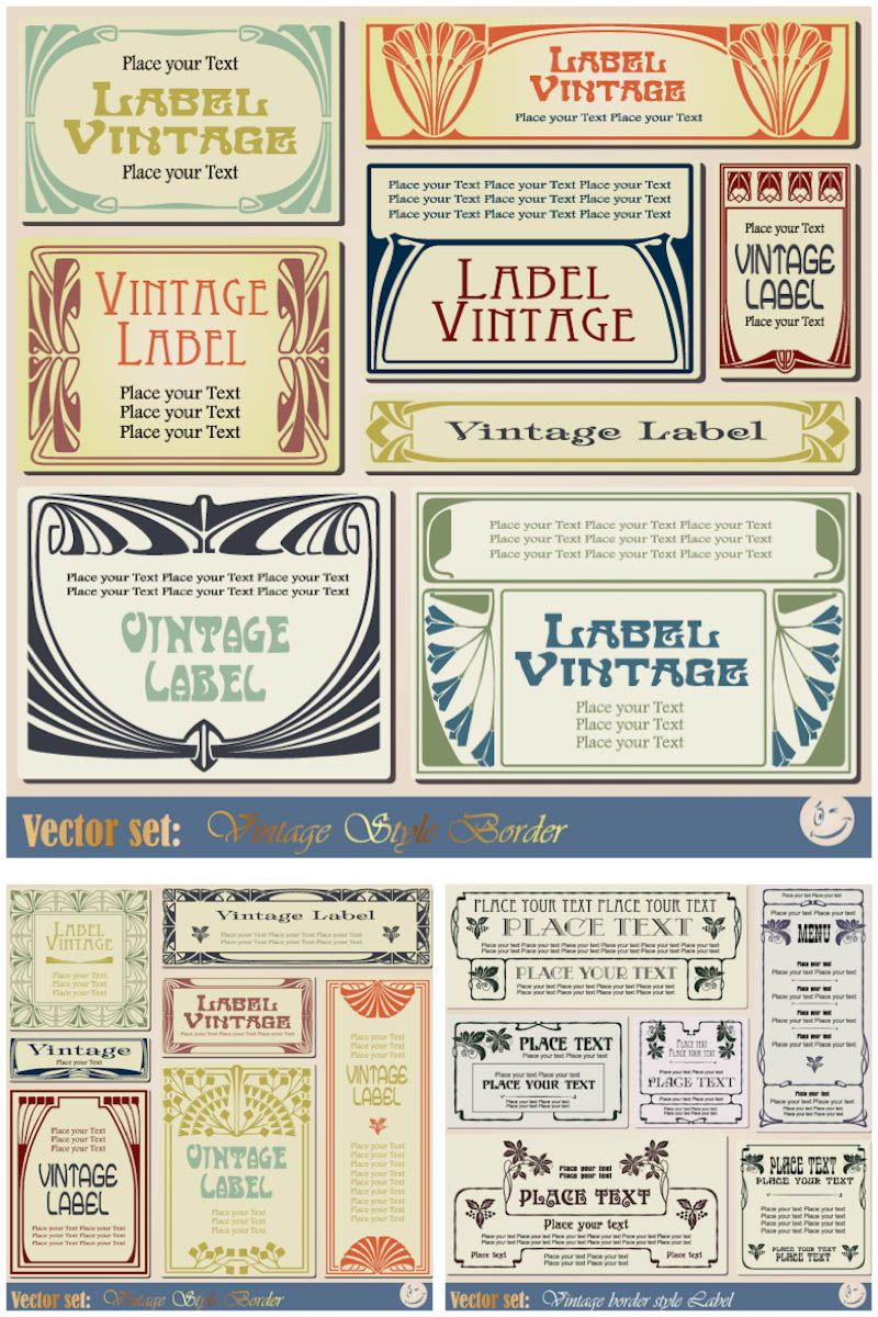 Vintage Label Templates Vector Set 2 Vector Graphics Blog Vases