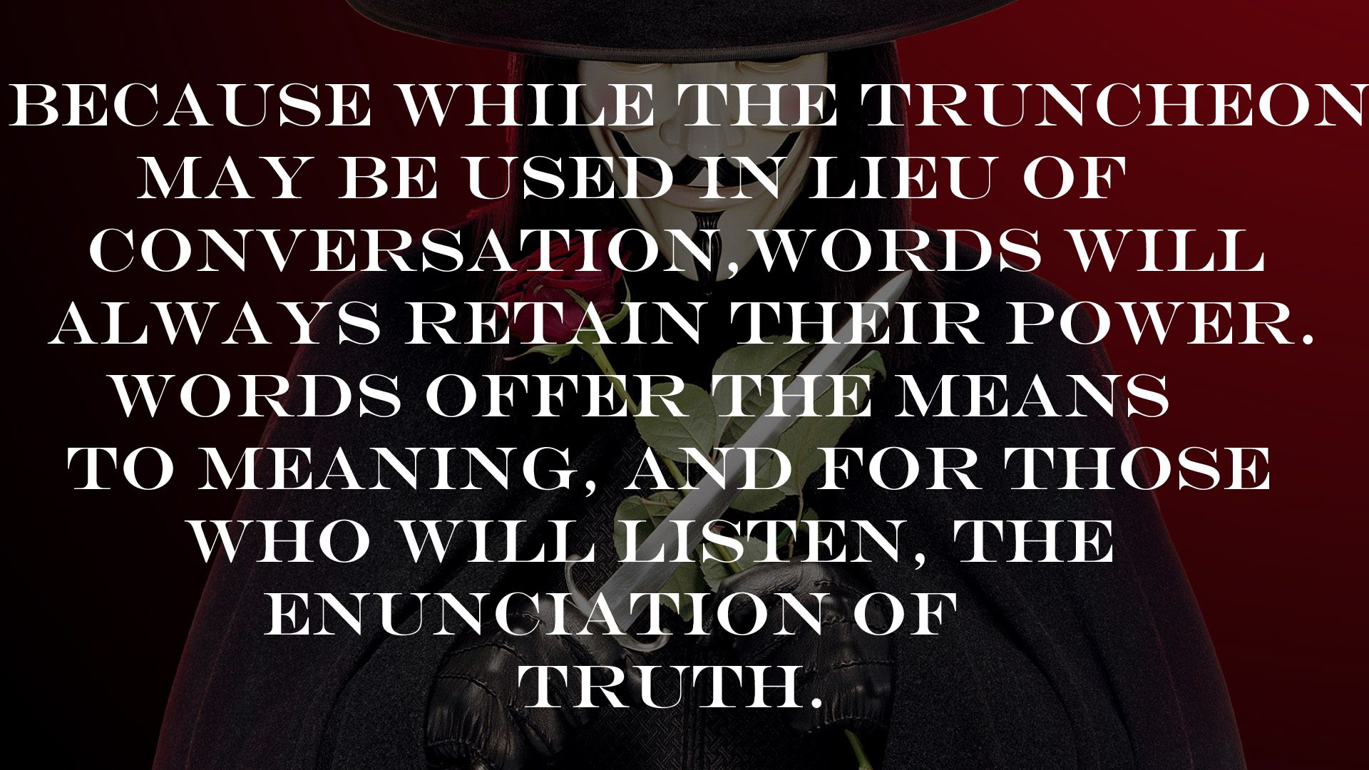 V From V For Vendetta On The Power Of Words  More At Http