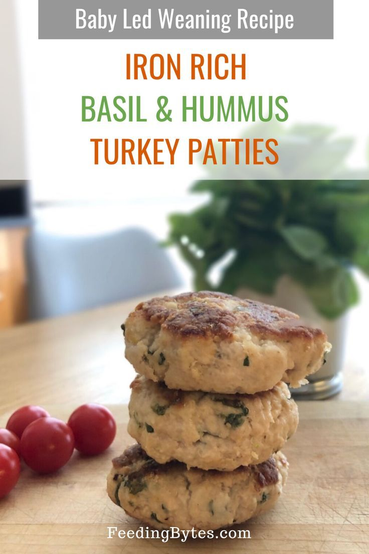 Basil and hummus turkey patties, a baby led weaning finger food recipe - This recipe makes an iron rich food for baby and toddlers. - Feeding Bytes UK #babyfoodrecipe #blw #babyledweaning #babyfingerfood #toddlerfoodideas #ironrich