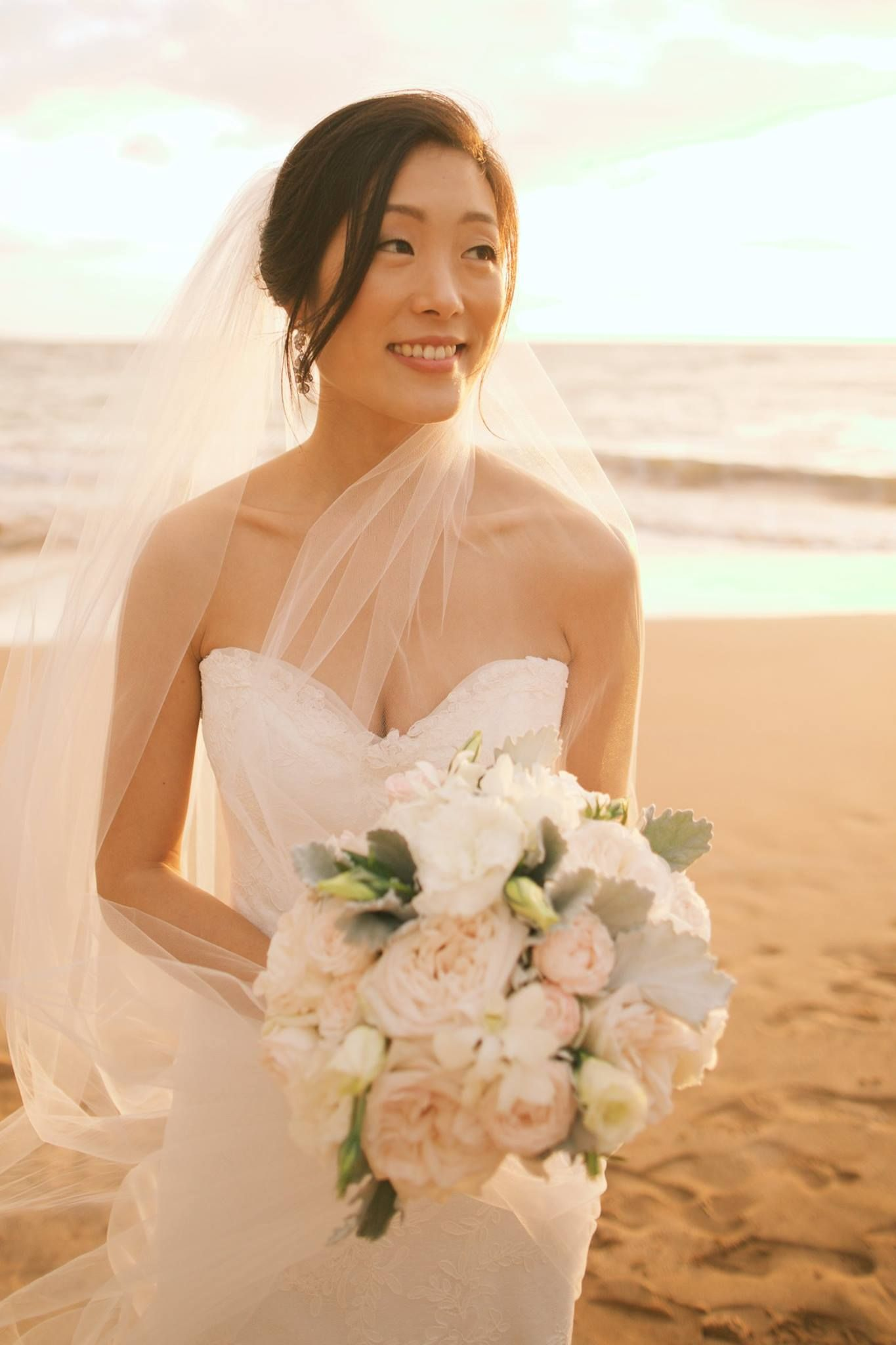 Strapless wedding gown + pale pink and white bouquet by Bella ...
