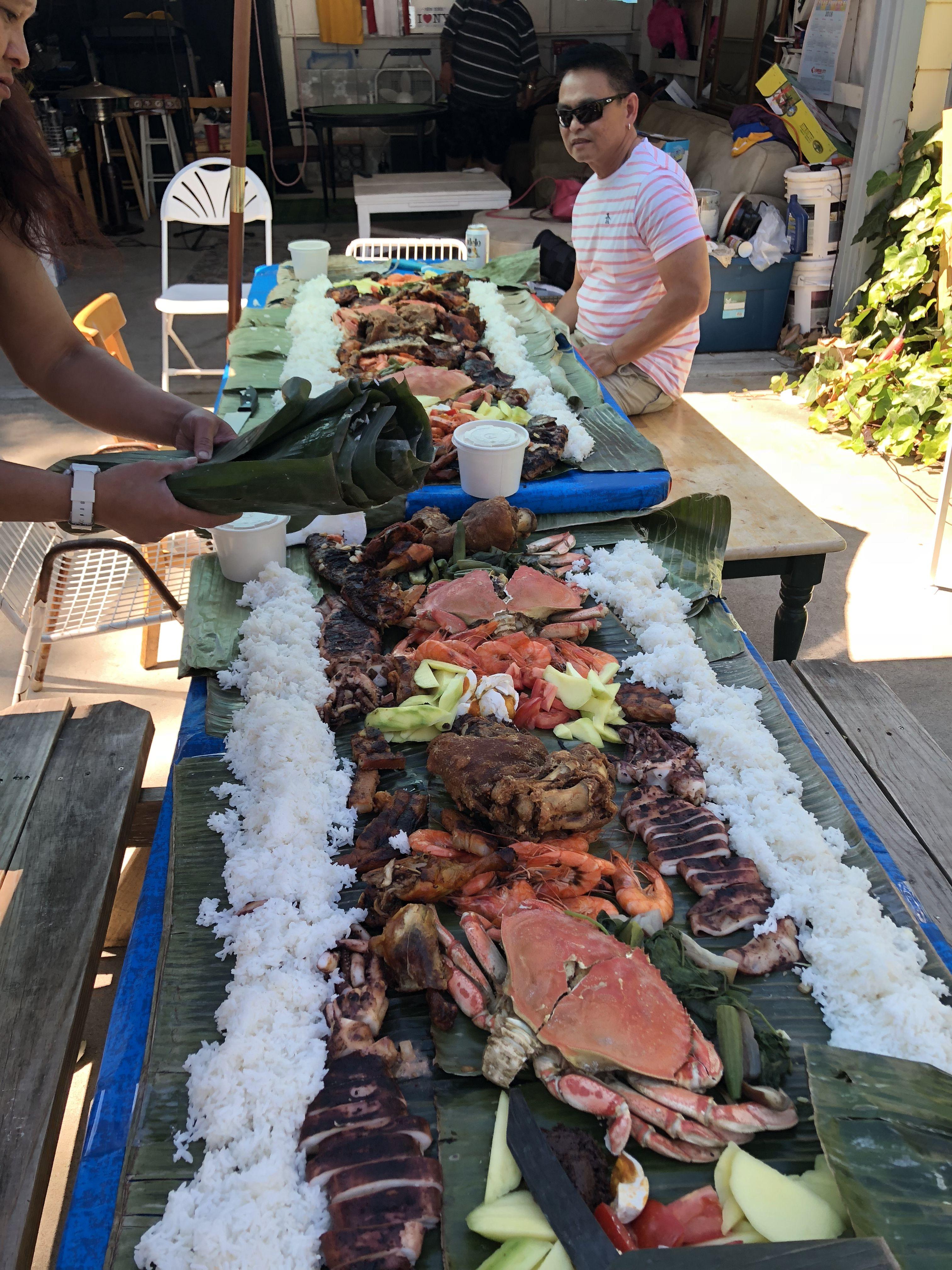 Filipino boodle fight ... seafood and meat ! | Backyard ...