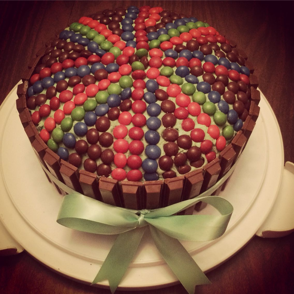 Skittles and kit kat cake I made for my bf's little girl's 10th birthday!