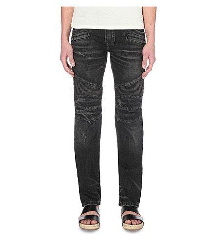 BALMAIN Biker Distressed Slim-Fit Skinny Denim Jeans. #balmain #cloth #jeans