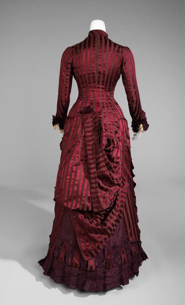 1878, back of marvelous maroon bustle dress I LOVE The STRIPES!!