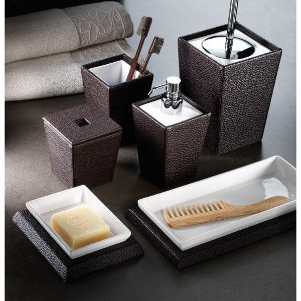 Superbe Beautiful Kyoto Leather Freestanding Bathroom Accessories Kyoto Leather  (Wenge Faux Leather Ceramic) Bathroom Accessory Set Includes: Soap Dish  Comb Holder ...