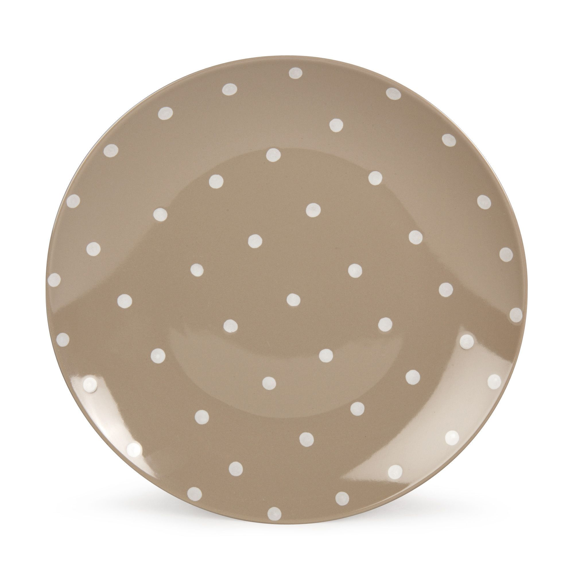 assiette plate beige pois taupe blanc vaisselle cl mence les assiettes plates assiettes. Black Bedroom Furniture Sets. Home Design Ideas