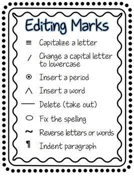 Editing marks for primary tpt language arts lessons pinterest school and also rh