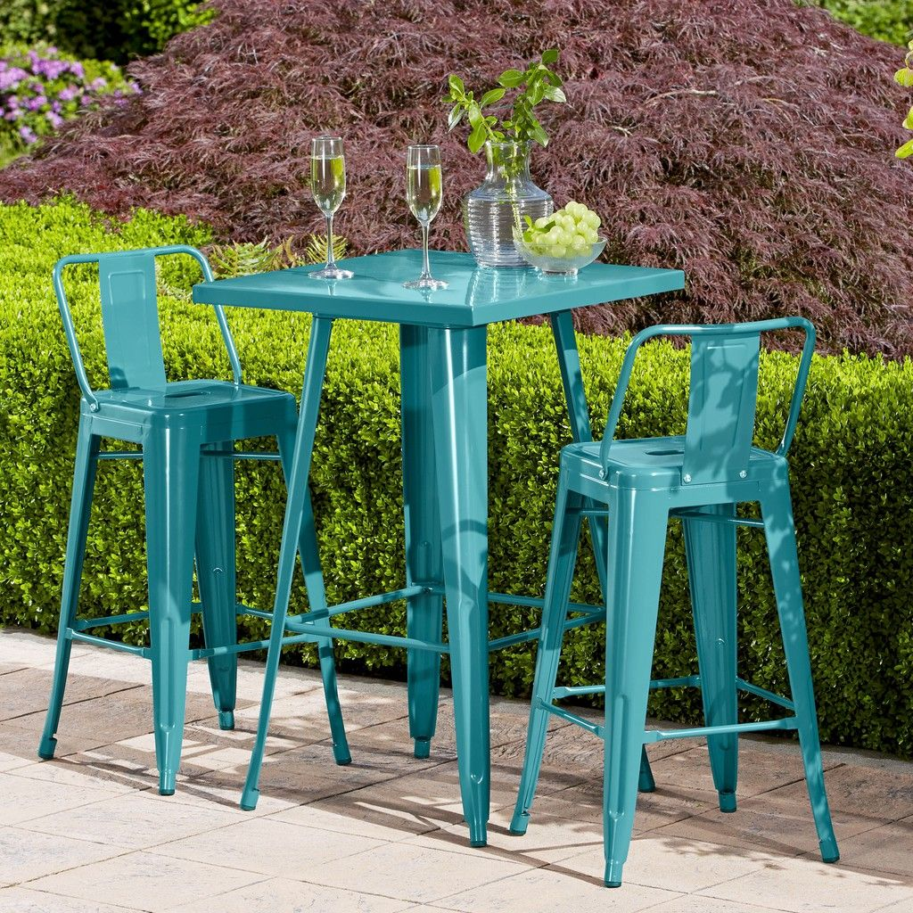 Hd Designs Outdoors Orchards Retro Bistro Set 3 Piece Teal