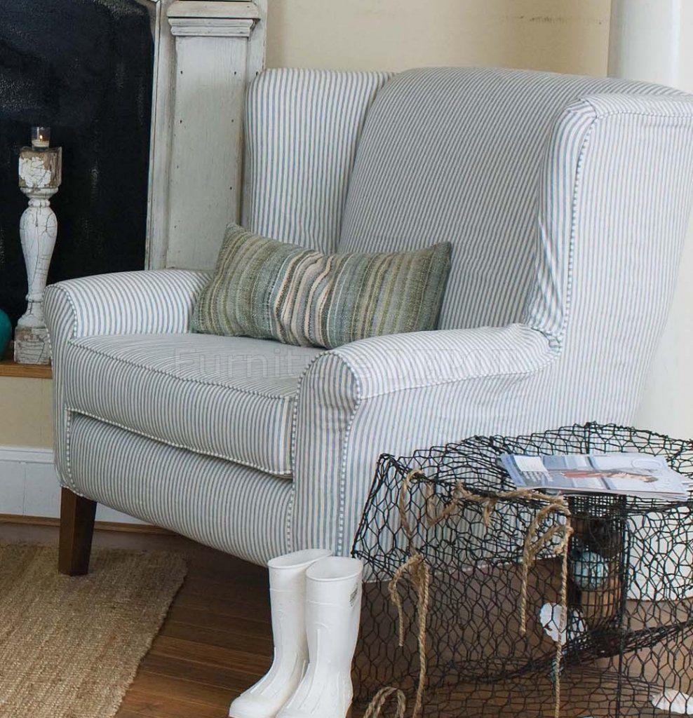 Striped Living Room Chair Blue Stripe Sofas Blue White Striped Fabric Classic Sofa