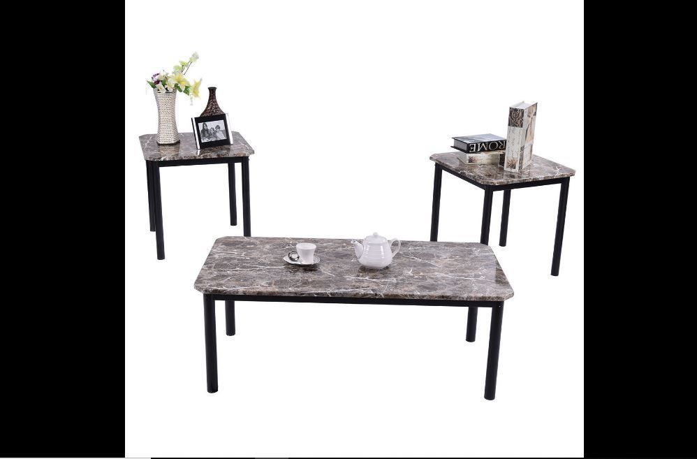 3 Piece Modern Faux Granite Marble Coffee Table And End Tables Set 97 00 Date Sunday Nov 25 2018 22 26 59 Pst It Now For Only