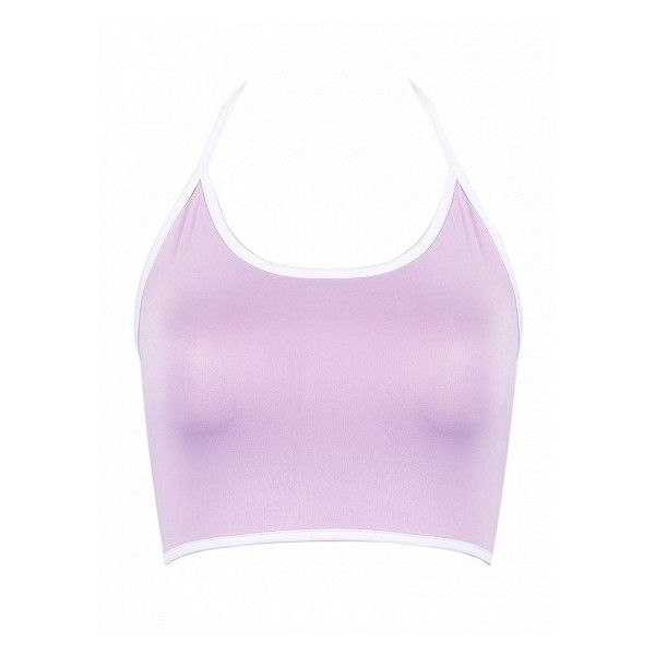 51719b7281fdf Choies Light Purple Halter Tight Crop Tank Top ( 7.90) ❤ liked on Polyvore  featuring tops