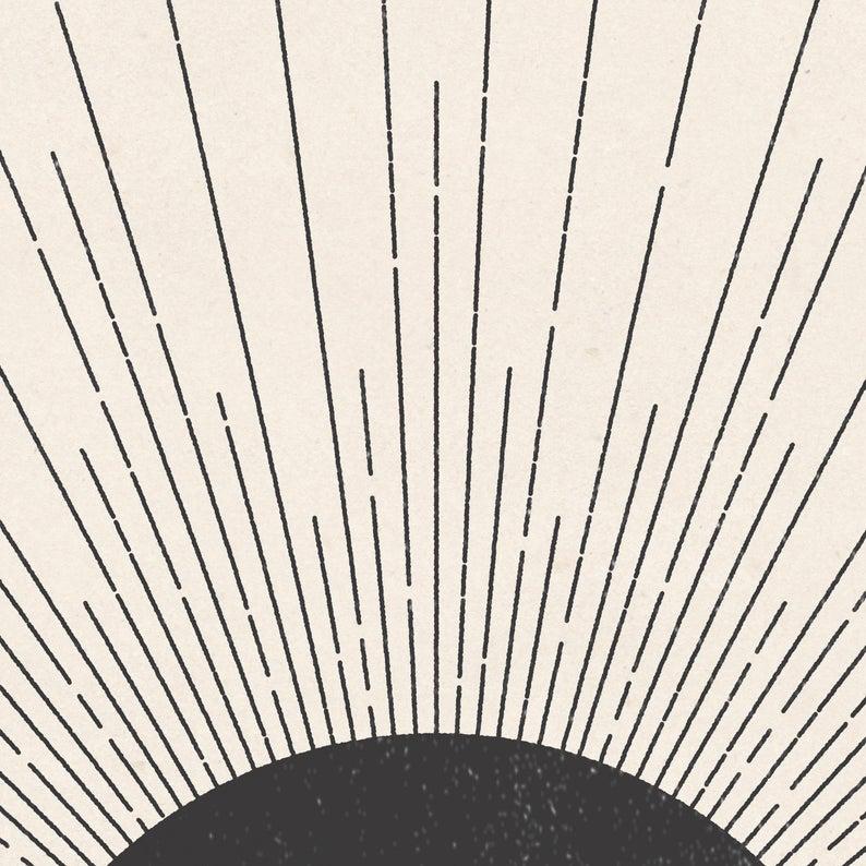Sun Illustration. Mid century modern block print style | Etsy