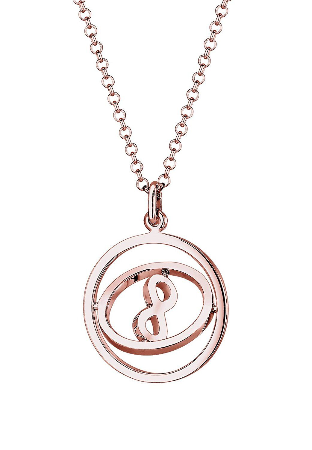 Elli women necklace 925 sterling silver rose gold plated