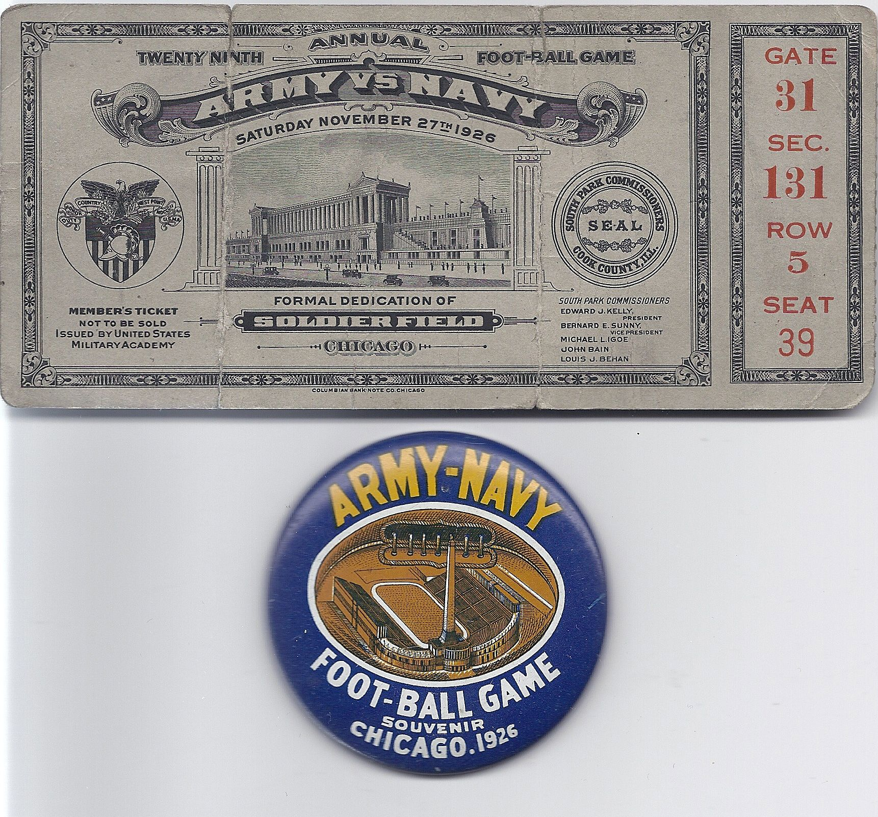 1926 Army Navy ticket and pin Game tickets, Notre dame