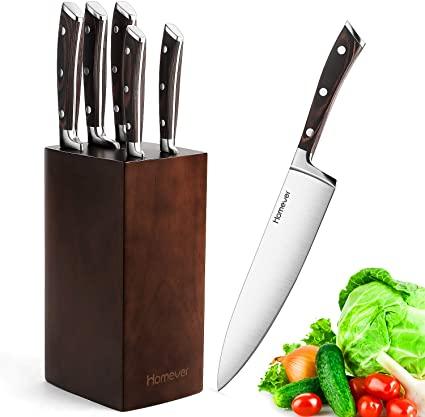 Kitchen Knife Set with Block, Homever Knife Block Set 6