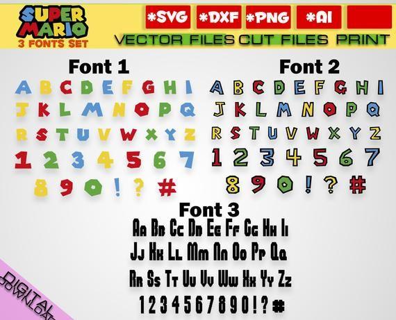 Mario font svg + 3 Alphabet font set svg clipart mario png