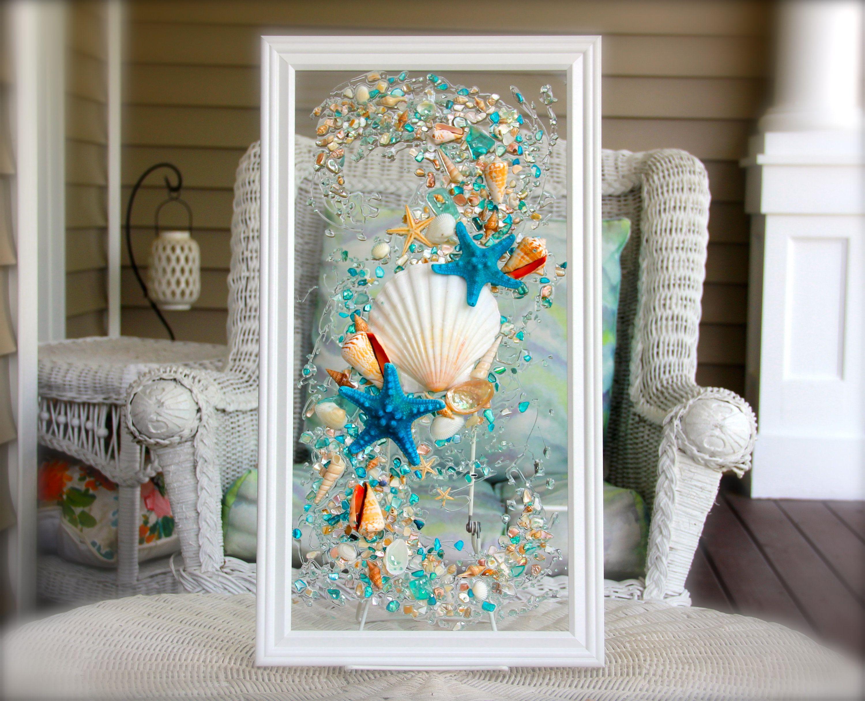 Sea Glass Art For Beach Decor Seashell Wall Art For Nautical Bathroom Turquoise Beach Home Decor Wall Hanging Coastal Decor Seashell Wall Art Sea Glass Decor Glass Wall Art