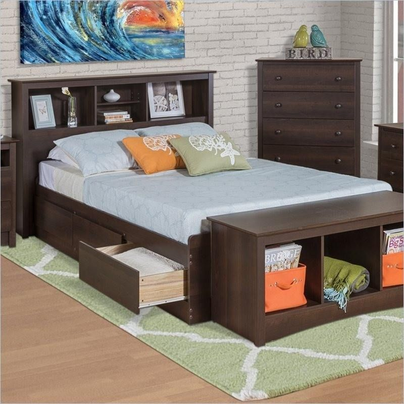 Twin Xl Espresso Brown Platform Bed W Headboard And Storage