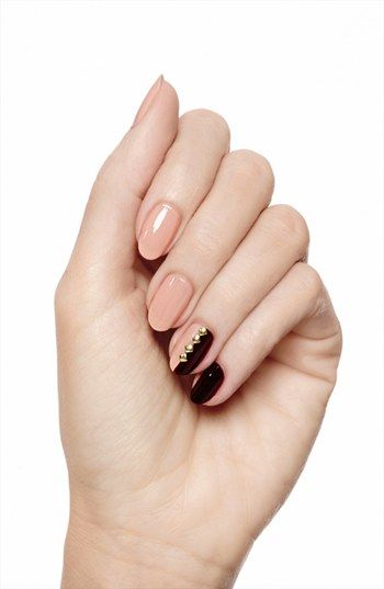 Studded Nails #manicure / Love the neutral + black.