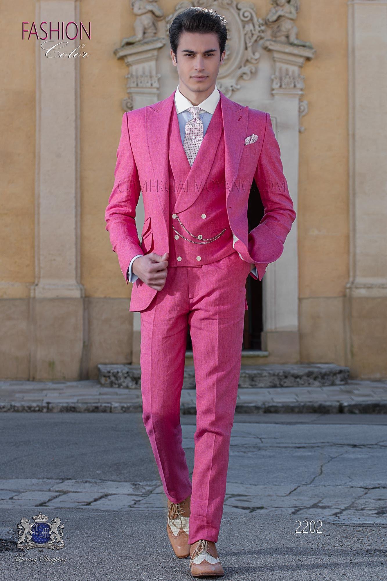 Traje de novio a medida rosa de lino | Pinterest | Traje de novio ...