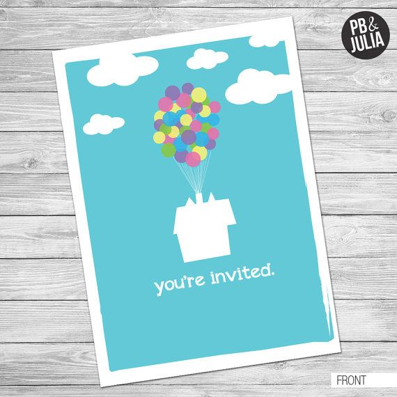 disney up themed graduation party by peanutbutterandjulia on etsy, Birthday invitations