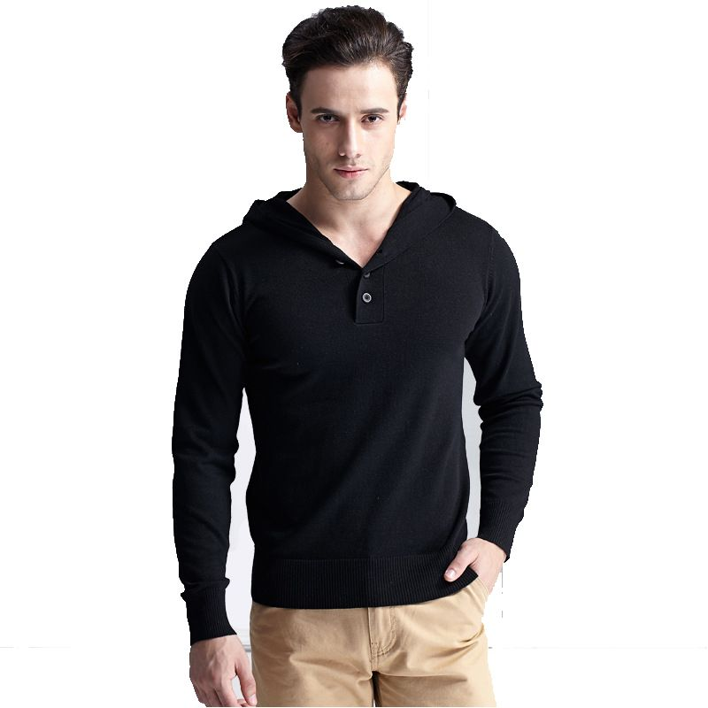 New Autumn Mens Sweater cardigan men hooded V Neck sweaters solid ...