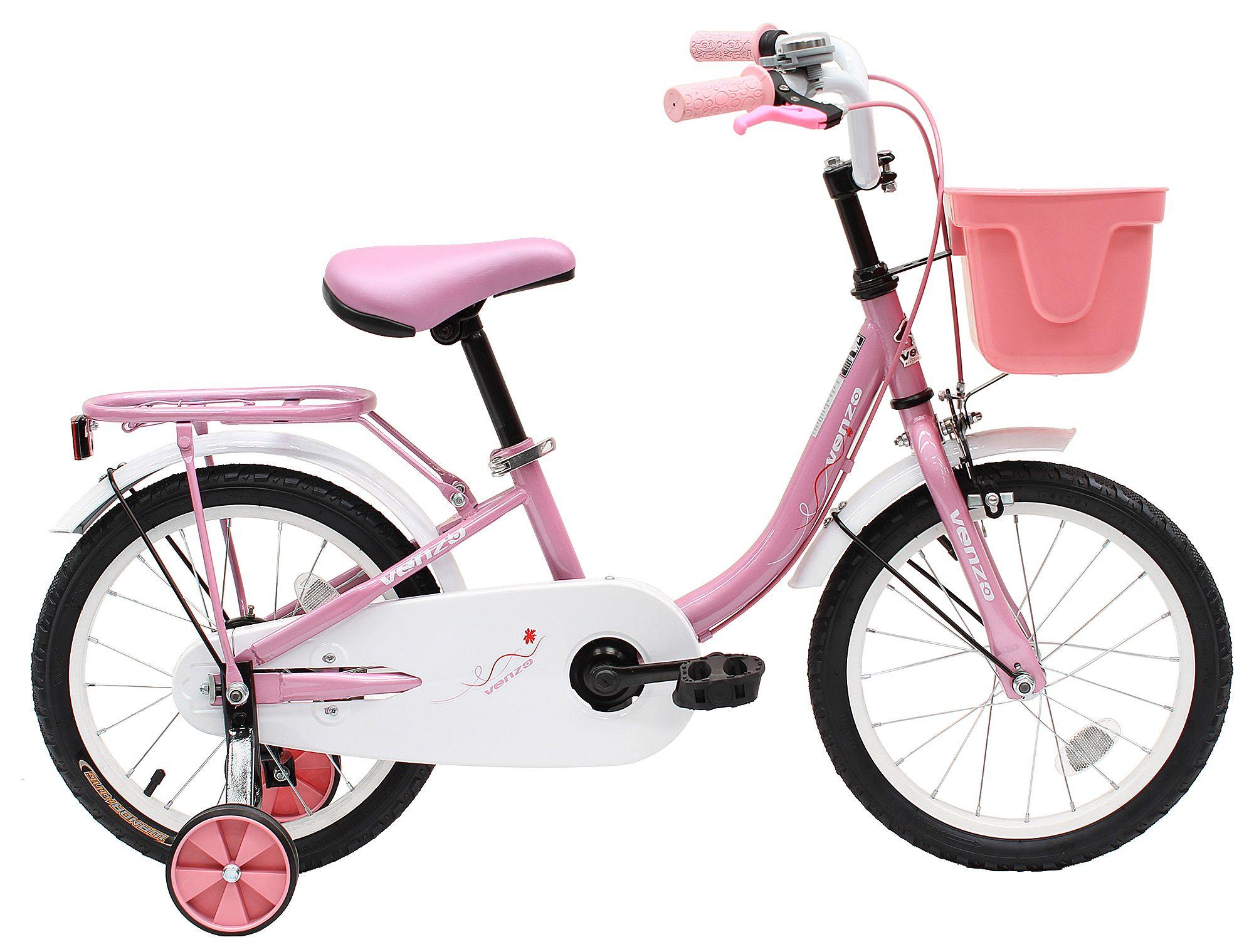 Venzo Children 16 Push Kids Bike With Training Wheels Pink Bike