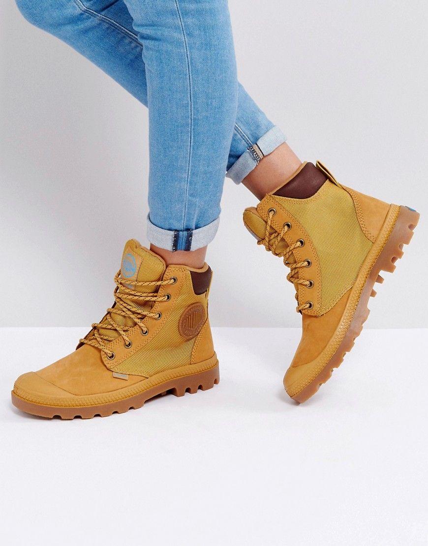 0e23fefd81ce0 PALLADIUM PAMPA AMBER GOLD SPORTS CUFF FLAT ANKLE BOOTS - BEIGE.  palladium   shoes