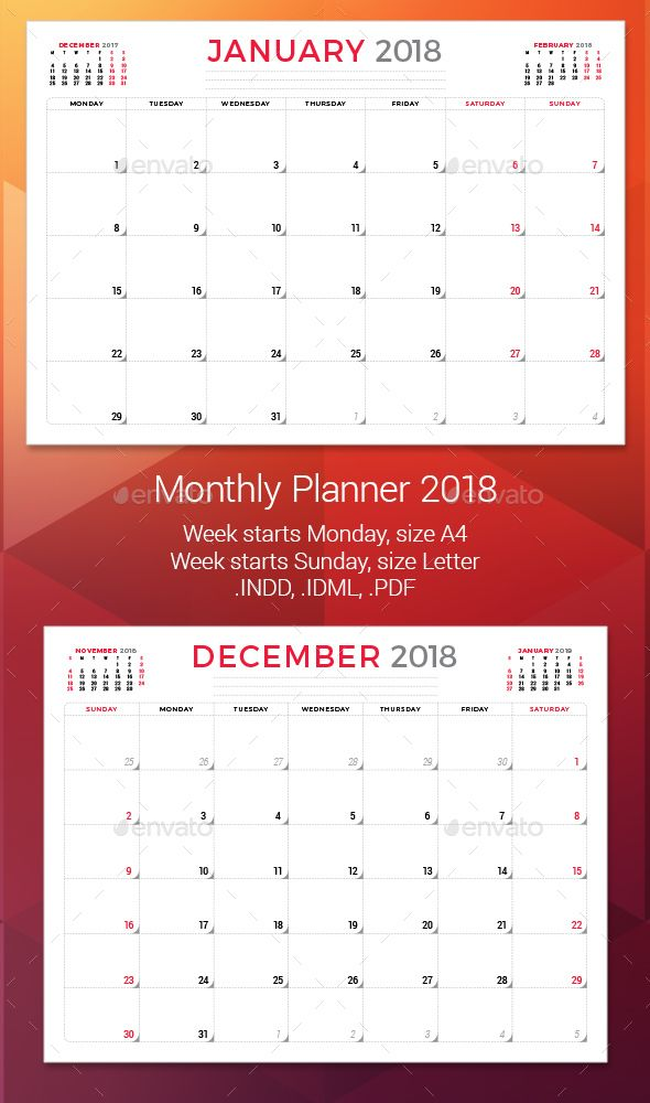 Monthly Planner 2018 Template InDesign INDD Calendar Templates