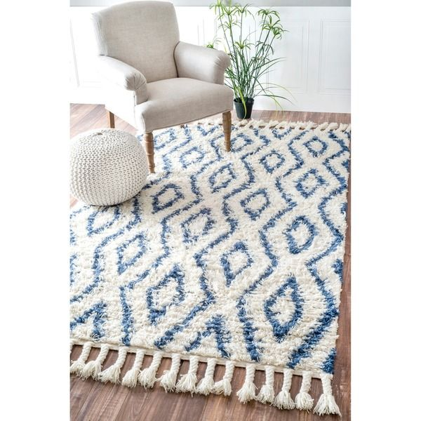 nuloom hand-knotted moroccan diamond trellis blue shag rug (7'6 x