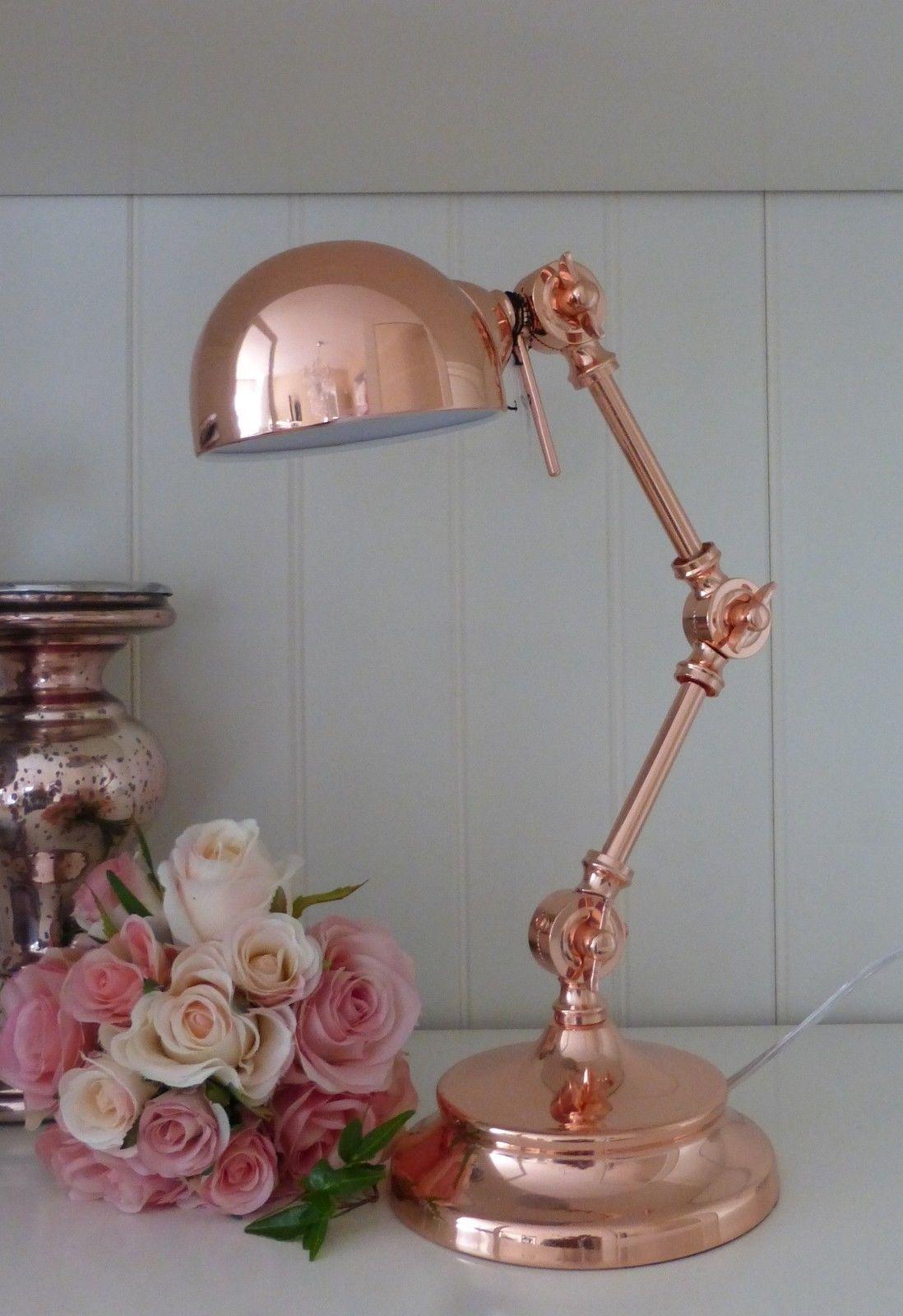 Schreibtischlampe nostalgie kupfer rosegold for Lampen nostalgie