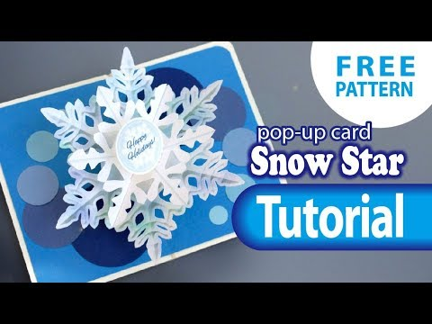 1079 Tutorial Snow Star Pop Up Card Free Template Youtube Pop Up Christmas Cards Pop Up Card Templates Pop Up Cards