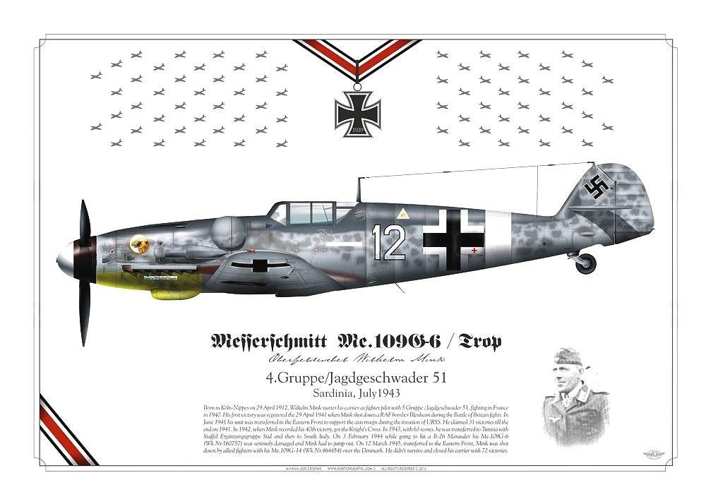Messerschmitt Bf 109 G-6 4./JG 51 Sardinia July 1943. Oberfeldwebel Willi Wilhelm Mink