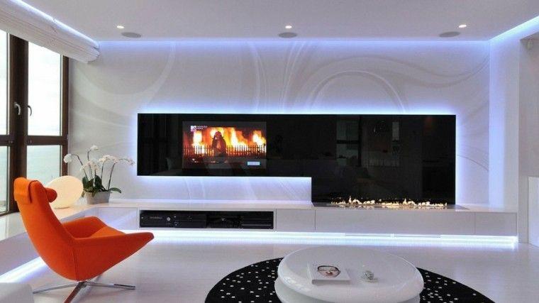iluminacion indirecta led salon moderno con luces led en el techo