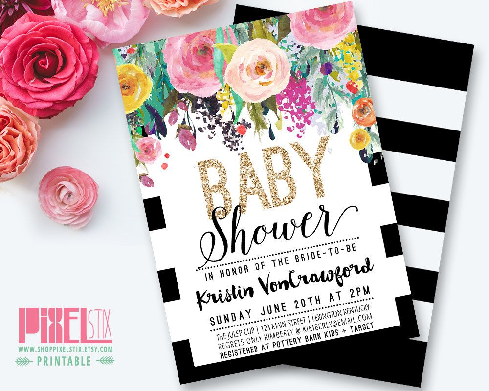Floral Baby Shower Invitation, Black and White Striped Baby Shower ...