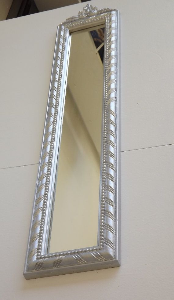 Tall and thin silver mirror by uniquelyattainable on etsy for Tall slim mirror