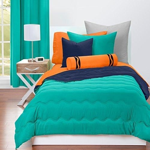 Kids Green Navy Blue Waves Stripes Pattern Comforter Full Queen Set Elegant Two Tune Solid Color Bedding Super Soft Stripe Inspire Design Features