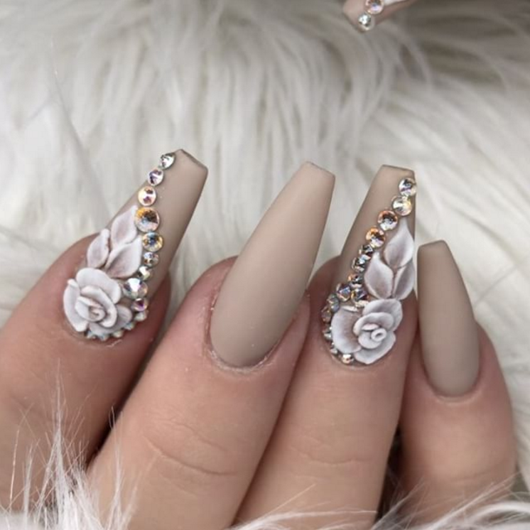 ♡ Toffee colored acrylic nails with white acrylic flowers and ...