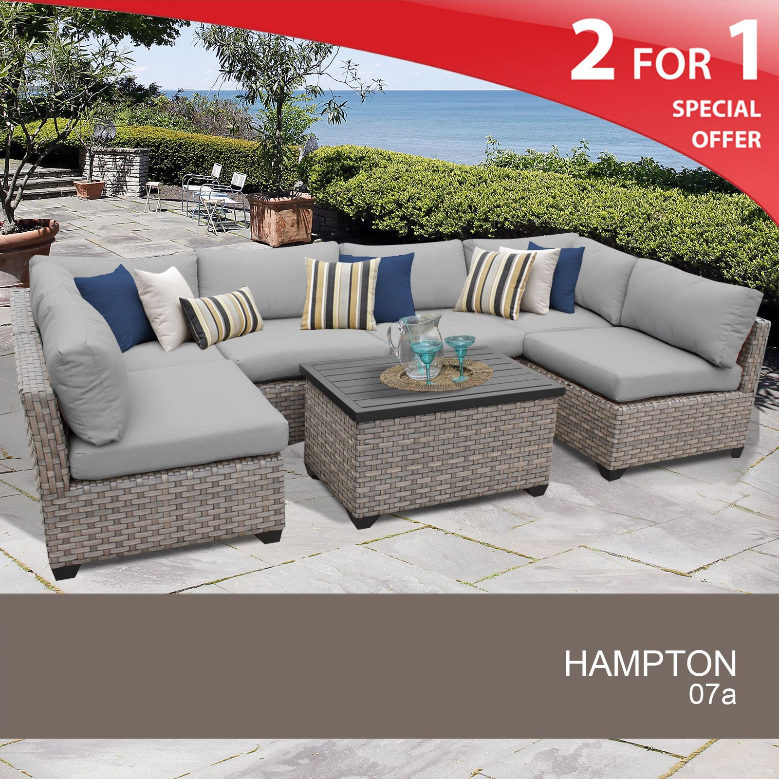 Hampton 7 Piece Outdoor Wicker Patio Furniture Set 07a