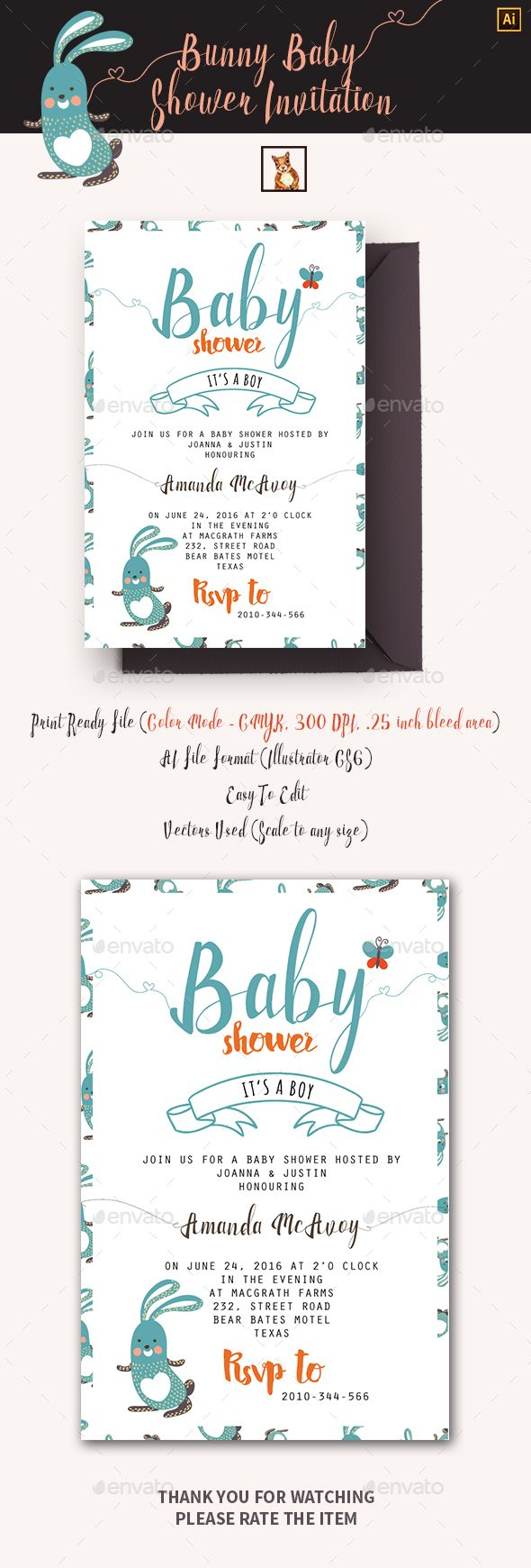 Bunny Baby Shower Invitation  Shower Invitations Bunny And Print